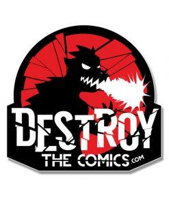 destroy the comics sticker die cut