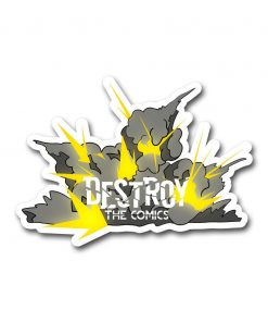 explosions with destroy the comics logo in front