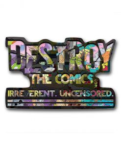 Dragon Lettered Destroy the Comics Logo – Kiss Cut Vinyl Sticker