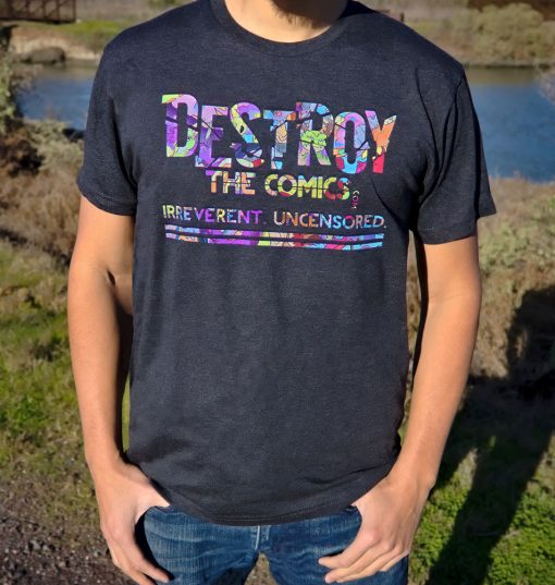 destroy the comics dragon letter t shirt on a model in nature setting