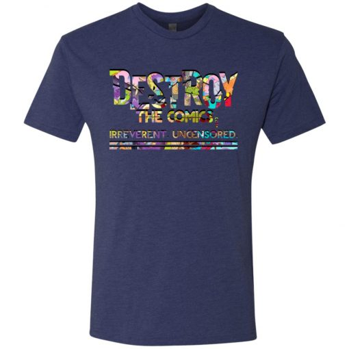 destroy the comics lettering with dragon art overlay on navy shirt
