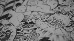 hand drawn pencil outlines of a comic on paper