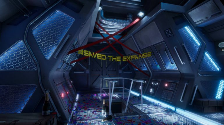 saved the expanse banner on the rocinante's command deck