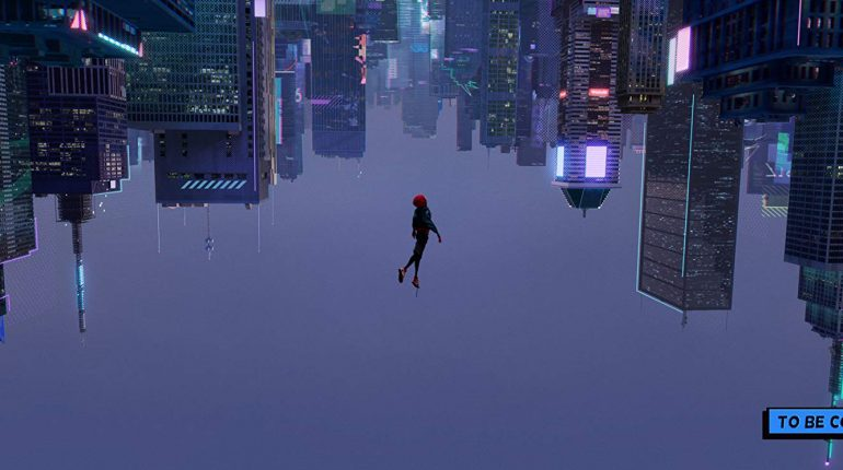 spiderman diving headfirst downwards with the perspective flipped so the ground is on top