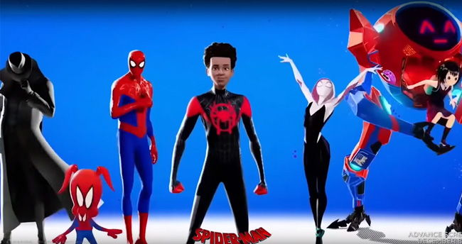the different spiderverse characters standing posed and ready