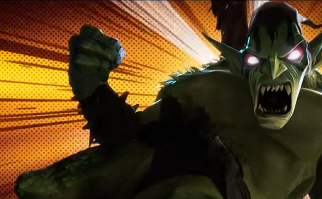 green goblin looking pretty monstrous and punching up a storm