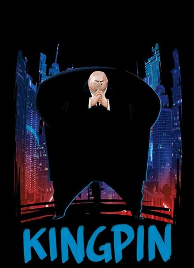 kingpin's character design in spider-verse, standing in front a a city looking ominous
