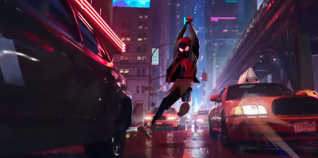 miles swinging down to street level between cars in spider verse