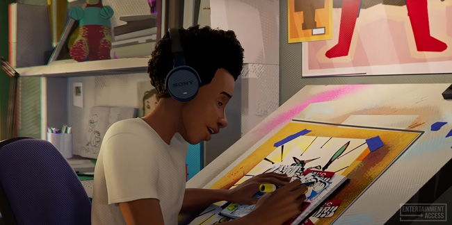 miles drawing some tags on postal labels with headphones