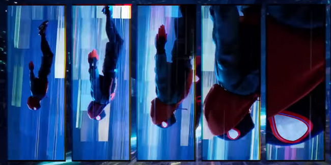 multi panel layout of miles morales spiderman falling like in comics