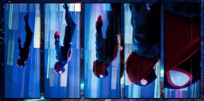 multi panel layout of miles morales spiderman falling like in comics