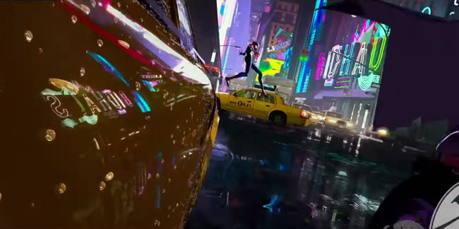 spider-man in the air over the street with a shiny reflection on a taxi cab side and neon lights