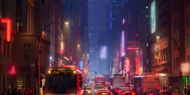 pretty nyc street scene with traffic and light glows at night in spider-verse