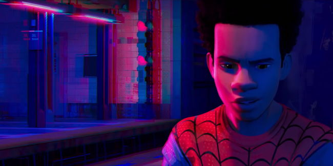 miles morales looking contemplative as red and blue light casts over him