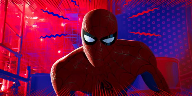 spiderman with spider sense tingling in red and blue background