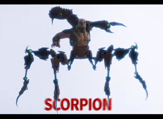 scorpion villain in the air from spider-verse