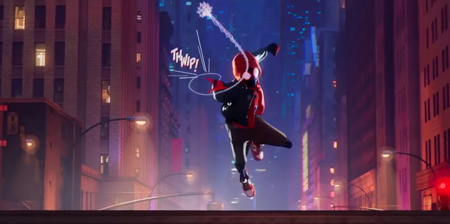 miles spider-man with web shooting thwip sound effect