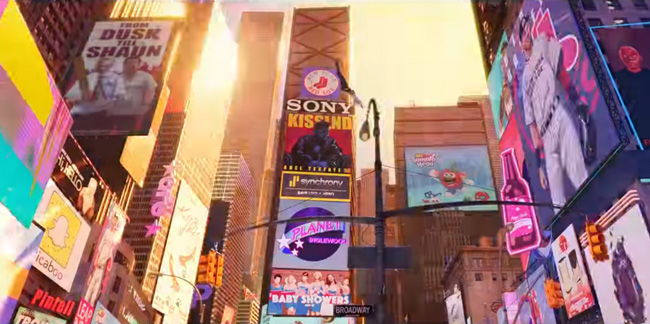 times square at daytime spider-verse