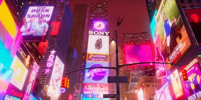 times square at night spider-verse