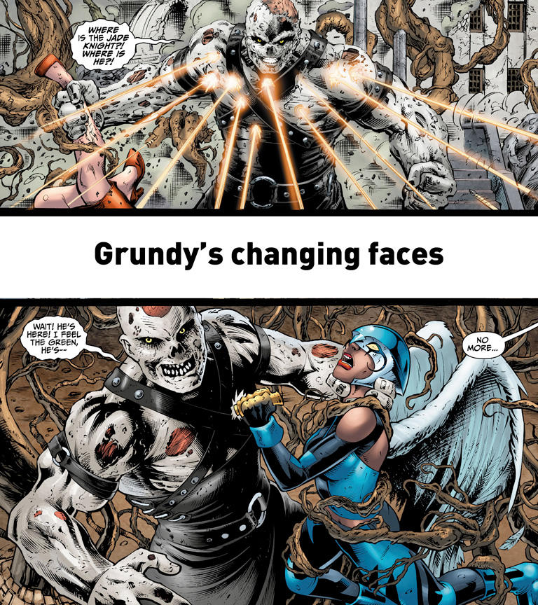 solomon grundy panel comparison showing him standing being shot at vs choking hawk girl