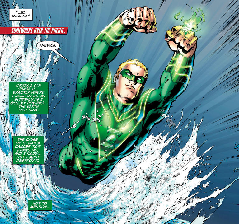 green lantern flies over water