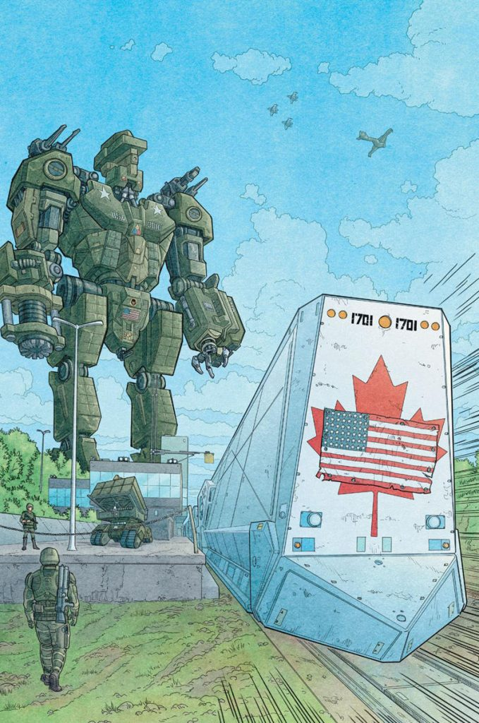 mech overlooks a train with us flag pasted over canadian flag