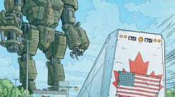 mech overlooks canadian train with us flag pasted over