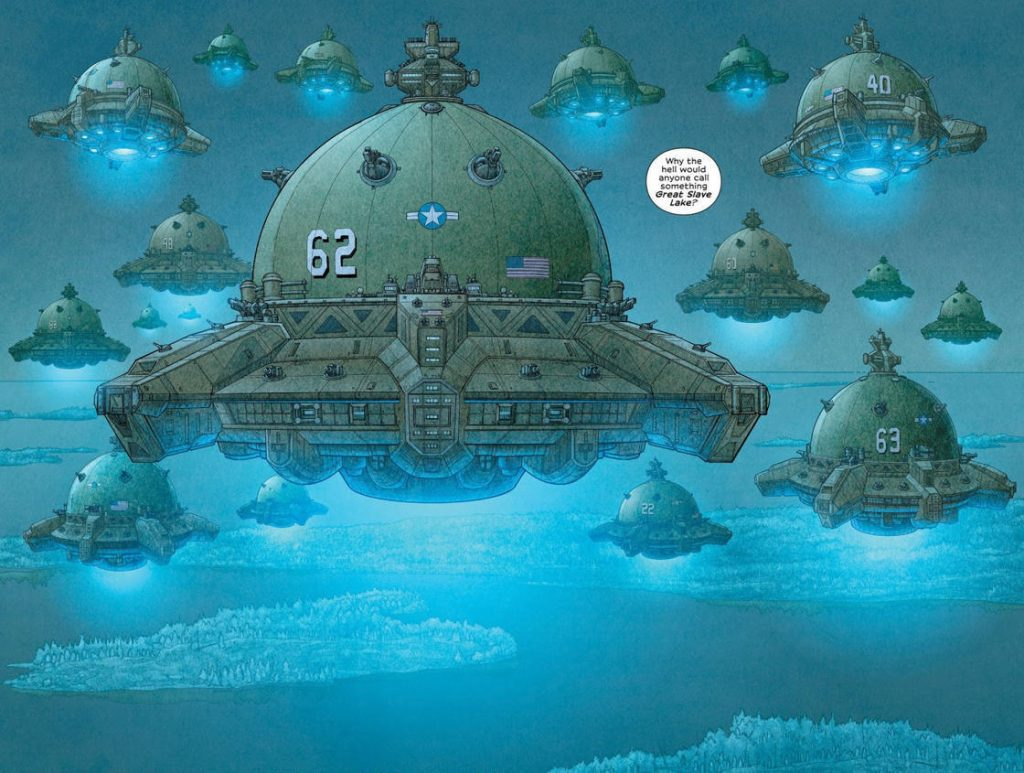 ufo and leviathan looking US airship fortresses hovering in the sky