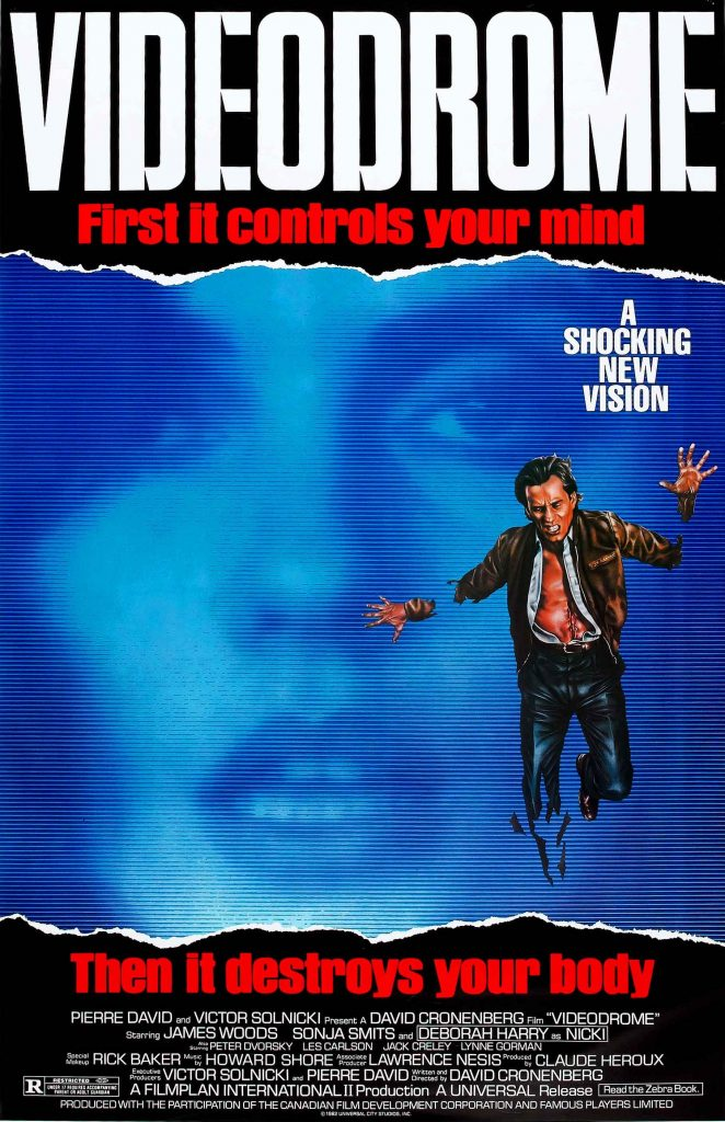 videodrome movie poster showing a man coming out of screen - illustrates the movie concept